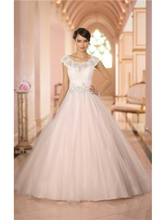 Ball Gown Cap Sleeve Keyhole Open Back Tulle Lace Beaded Wedding Dress