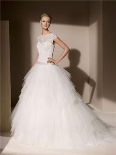 Ball Gown High Neck Cap Sleeve Layered Tulle Lace Wedding Dress With Crystals Beading