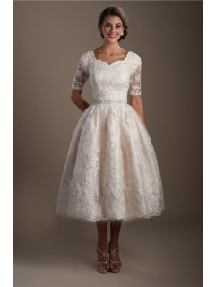 Ball Gown Short Sleeve Tea Length Lace Modest Wedding Dress