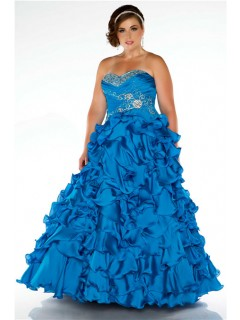Ball Gown Strapless Blue Ruffles Beaded Plus Size Quinceanera Party Prom Dress