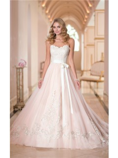 Ball Gown Sweetheart Blush Pink Satin Ivory Lace Wedding Dress With Sash