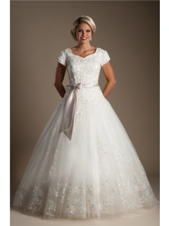 Ball Gown Sweetheart Cap Sleeve Lace Modest Wedding Dress With Bow Sash