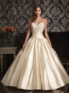 Ball Gown Sweetheart Champagne Satin Swarovski Crystals Beaded Wedding Dress
