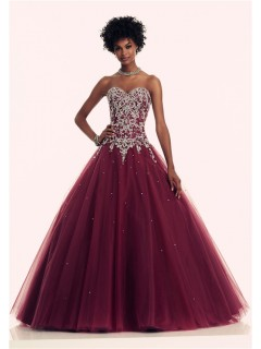 Ball Gown Sweetheart Corset Back Burgundy Tulle Beaded Prom Dress