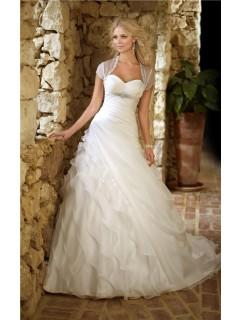 Ball Gown Sweetheart Corset Organza Ruffle Layered Wedding Dress Crystals Bolero Jacket