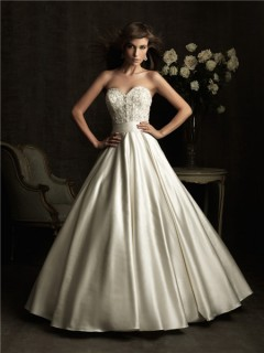 Ball Gown Sweetheart Ivory Satin Embroidery Beading Wedding Dress With Belt
