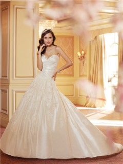 Ball Gown Sweetheart Ivory Taffeta Draped Wedding Dress With Lace Up Back
