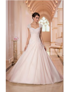 Ball Gown Sweetheart Keyhole Open Back Blush Pink Tulle Lace Corset Wedding Dress