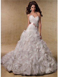 Ball Gown Sweetheart Layered Organza Rosette Wedding Dress With Crystal Sash