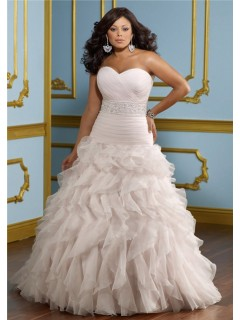 Ball Gown Sweetheart Neckline Organza Ruffle Beaded Belt Plus Size Wedding Dress