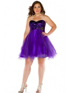 Ball Gown Sweetheart Short Lavender Purple Sequined Tulle Prom Dress Plus Size