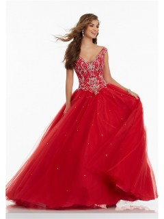 Ball Gown V Neck Basque Waist Red Tulle Beaded Prom Dress Keyhole Corset Back