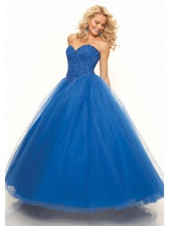Ball Gown sweetheart floor length royal blue tulle prom dress with lace