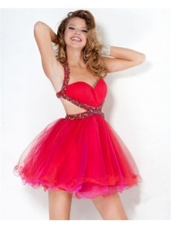 Ball Sweetheart Short Mini Red Tulle Beaded Sweet Sixteen Cocktail Party Dress