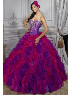 Beautiful Ball Gown Red Purple Organza Quinceanera Dress With Beading Ruffles