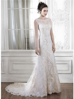 Beautiful Mermaid Illusion Neckline Sleeveless Open Back Lace Wedding Dress