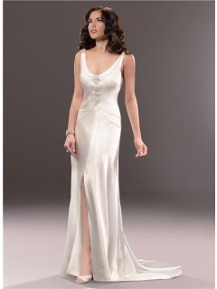Casual Sexy Sheath Open Back Ivory Satin Wedding Dress With Pearls