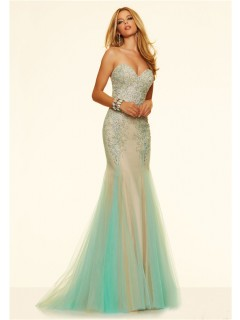 Charming Mermaid Strapless Corset Nude Satin Aqua Tulle Beaded Prom Dress