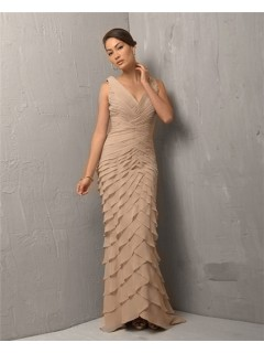 Classic Sheath V Neck Long Light Brown Chiffon Tiered Evening Dress With Straps