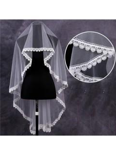 Classy One Tier Tulle Venice Lace Waltz Length Wedding Bride Veil
