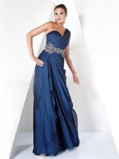 Designer A Line One Shoulder Long Navy Blue Chiffon Beading Evening Dress