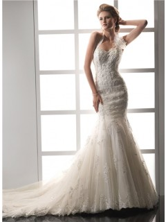 Designer Mermaid Sweetheart Halter Beaded Lace Wedding Dress With Detachable Straps