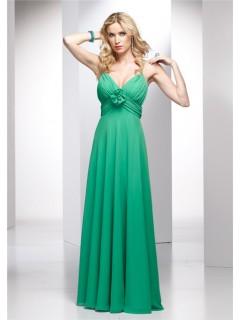 Elegant A line Spaghetti Strap Long Green Chiffon Summer Wedding Guest Dress