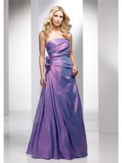 Elegant A line Strapless Long Lavender Purple Wedding Guest Dress