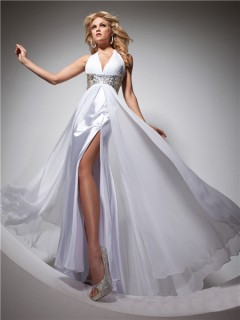 Elegant Halter Long White Chiffon Prom Dress With Beading Sequins Crystals