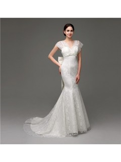 Elegant Mermaid Cap Sleeve Lace Corset Wedding Dress With Bow Sash