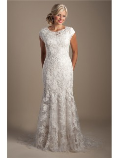 Elegant Mermaid Scoop Neck Cap Sleeve Lace Beaded Modest Wedding Dress