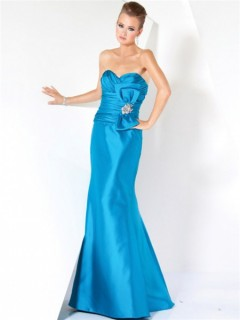 Elegant Mermaid Strapless Long Blue Satin Ruched Evening Prom Dress With Bow