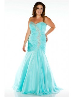 Elegant Mermaid Sweetheart Long Aqua Blue Chiffon Beaded Plus Size Prom Dress
