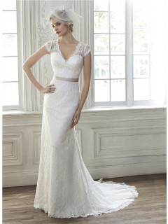 Elegant Mermaid V Neck Cap Sleeve Sheer Back Vintage Lace Wedding Dress With Sash