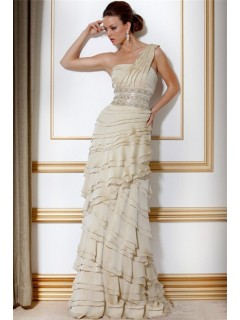 Elegant Sheath One Shoulder Long Ivory Chiffon Tiered Evening Dress