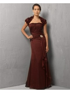 Elegant Sheath Strapless Long Burgundy Chiffon Evening Dress With Bolero Jacket