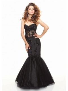 Elegant Trumpet/Mermaid sweetheart floor length black see through prom dress