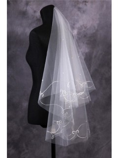 Elegant Tulle Embroidery Beaded Fingertip Length Wedding Bridal Veil