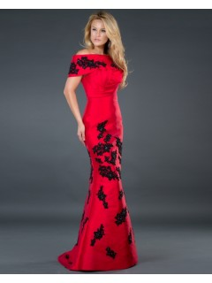 Elegant mermaid off shoulder long red taffeta evening dress with beaded lace