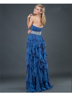 Elegant sheath strapless long royal blue beading chiffon evening dress with ruffles