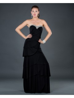 Elegant sheath sweetheart long black tiered chiffon evening dress with beading