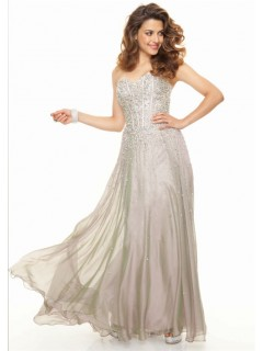 Elegant sweetheart floor length silver chiffon prom dress with beads