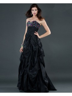 Empire sweetheart long black beaded taffeta evening dress