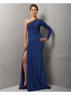 Fashion Sheath One Sleeve Long Royal Blue Chiffon Evening Dress With Split