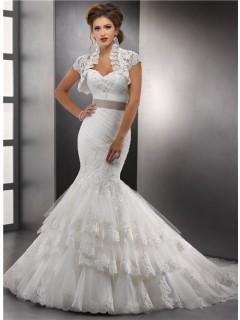 Fashion Trumpet/ Mermaid Sweetheart Layered Lace Wedding Dress With Jacket Sash Chapel Train