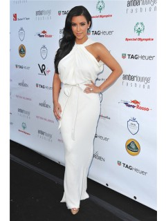 Fashion Unusual Long kim kardashian white dress With Sash