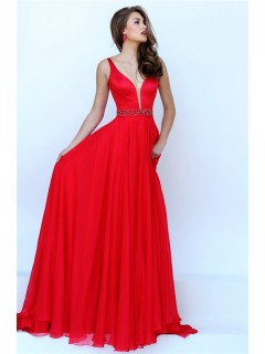 Flowing A Line Plunging Neckline Long Red Chiffon Beaded Prom Dress