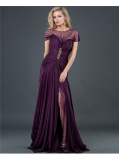 Formal A Line Long Purple Chiffon Slit Evening Dress With Sleeve Low Back