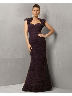 Formal Mermaid Long Deep Purple Chiffon Pleated Evening Dress With Flowers Jacket