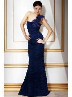 Formal Mermaid One Shoulder Long Navy Blue Pleated Chiffon Evening Dress With Flowers